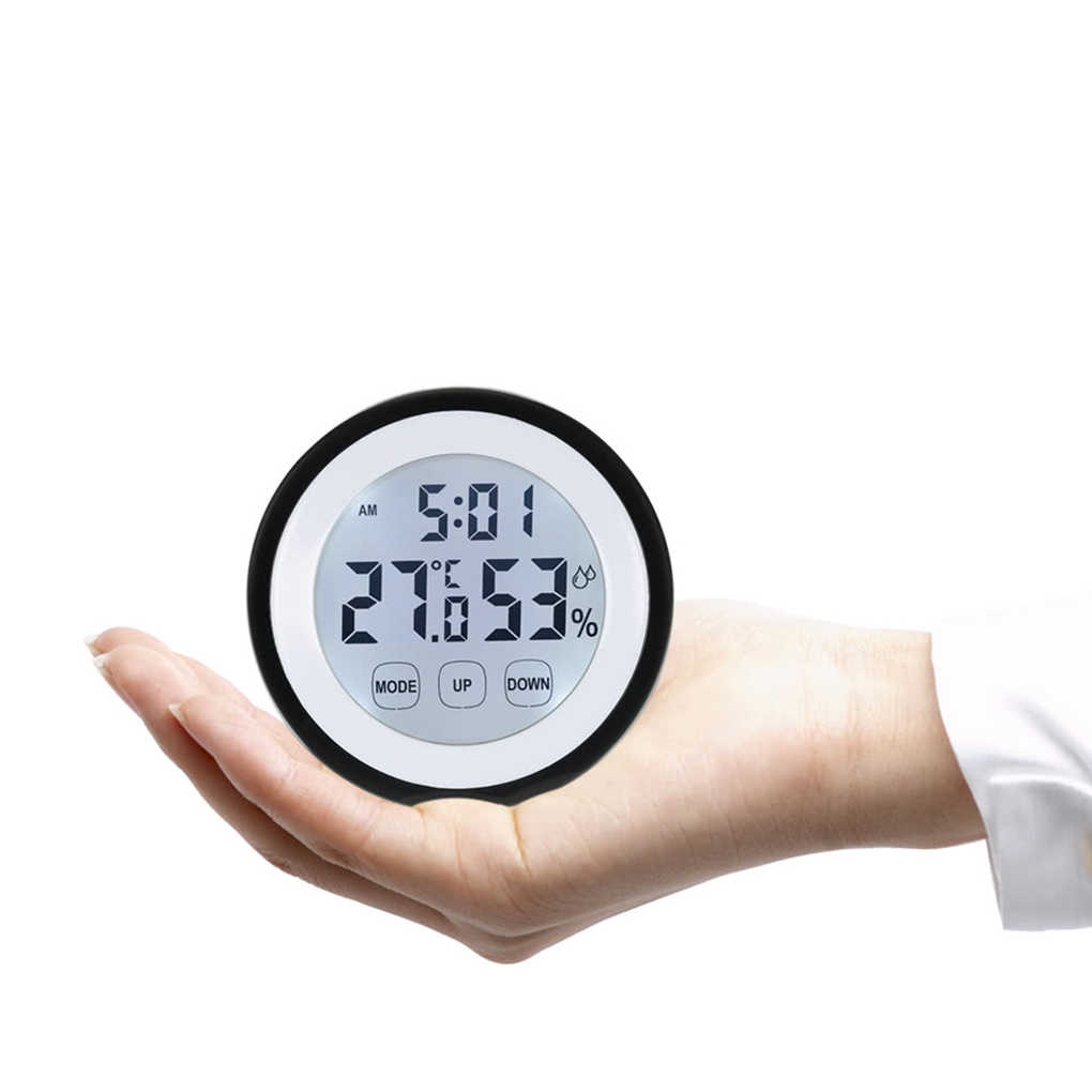 Digital Thermometer Hygrometer Temperature Humidity Meter Alarm Clock Touch Key with Backlight