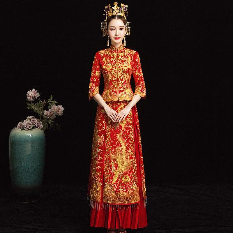 Невесты Современные с новогодней елкой, бумажный свадебное платье Qipao Su платье с вышивкой китайский халат Восточный Стиль вечернее