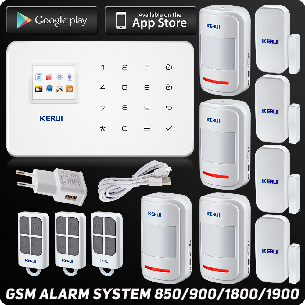 Kerui G18 GSM Alarm System TFT Android IOS APP Touch keypad  Android ISO App Smart Home Burglar Alarm  System DIY Motion Sensor smart android ios app controlled home alarm system touch keypad wifi gsm alarm system with pet immune motion detector siren horn
