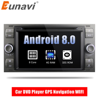 Eunavi 2 Din Android 8.0 Octa 8 Core Car DVD Player GPS Navigation WIFI 4G for FORD S Max Kuga Fusion Transit Fiesta Focus II
