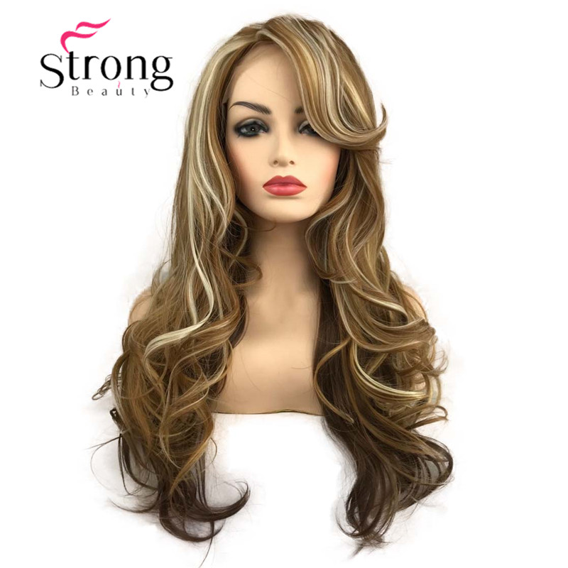 StrongBeauty Lace Front Long Wavy Glod Brown with Blonde Heat Ok Full Synthetic Wig