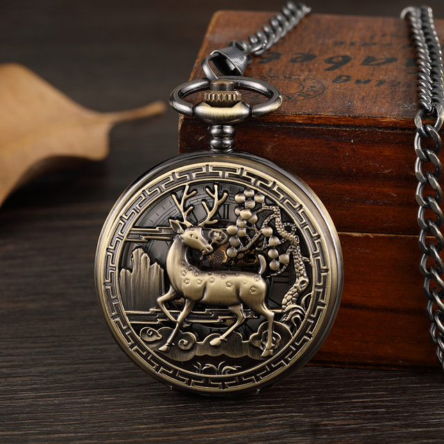 Vintage Deer Motif Hollow Hand-winding Pocket Watch Mechanical Double Cover Fob Chain Necklace Watches Steampunk Bronze Pendent