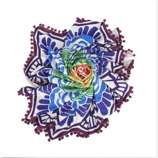 Tassel Indian Mandala Tapestry Totem Lotus Printing Beach Towels Bikini Cover Up