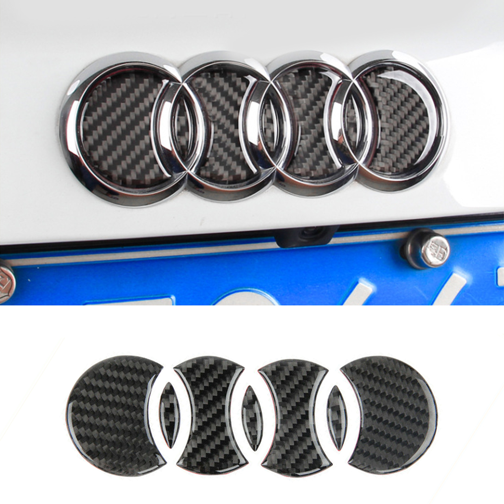 Carbon Fiber Logo Rear Trunk Badge Emblem Decal Sticker Replacement for Audi Car Logo Decal Car Tail Label Vehicle-in Car Stickers from Automobiles & Motorcycles