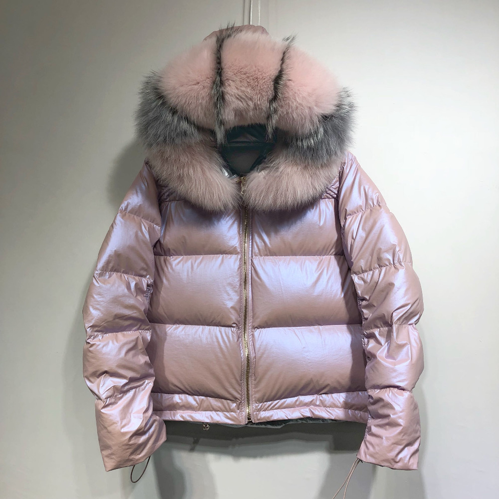 Large Real Natural Fox Fur 2019 Winter Jacket Women Down Parkas Coats Hooded White Duck Down