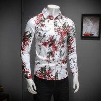 جديد الماركات الفخمة سلع القطن المطبوع الرجال الموضة الترفيه ضئيلة طويلة الأكمام قميص الذكور عارضة كبيرة حجم
