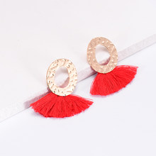Summer Style Irregular Pattern Golden Round Earring For Women Bohemian Charm Jewelry Punk Tassel Drop Earrings Fashion Brincos(China)