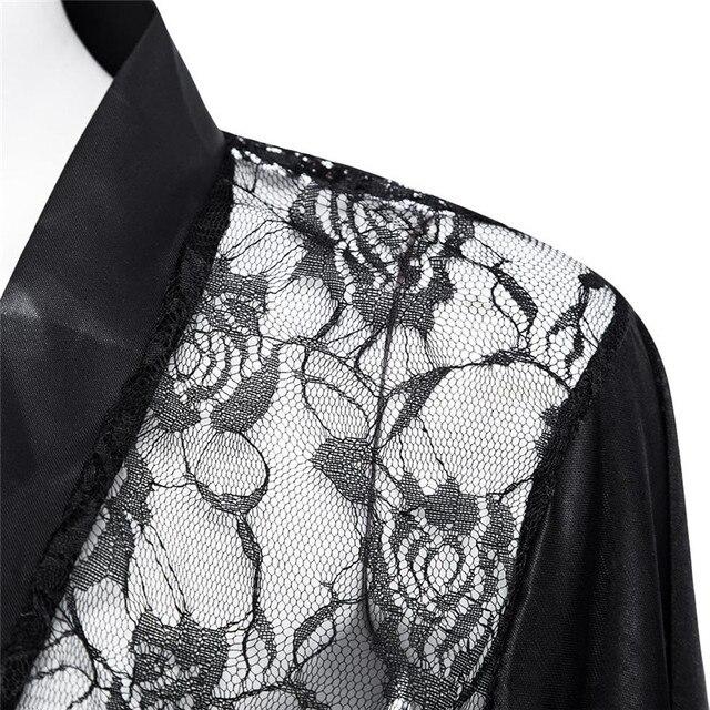 Satin Lace Black Kimono 8