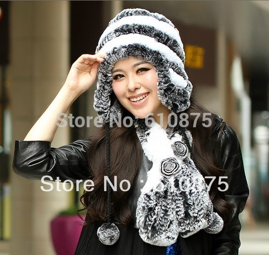 Ear-Hats Beanies Stretch-Fur-Caps Protection Skullies Knit Female Autumn Winter 100%Rabbit-Fur