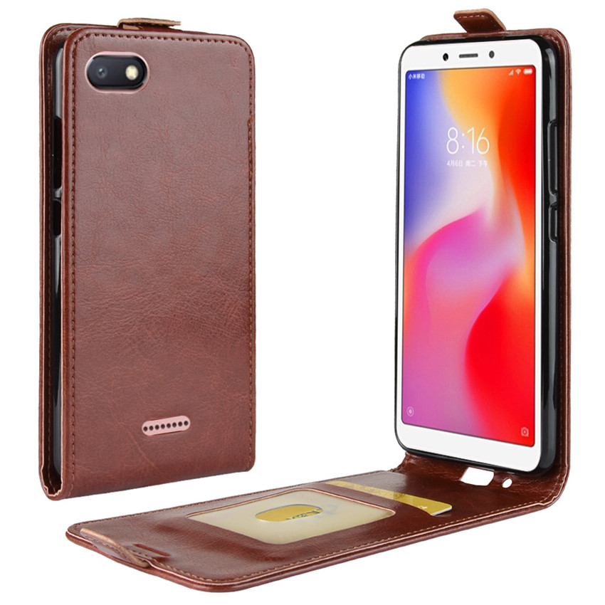 Image 4 - Redmi 6A Up Down Vertical Flip Wallet Leather Card Holder Case for Xiaomi Redmi 6A Full Protective Phone Cover Case-in Flip Cases from Cellphones & Telecommunications