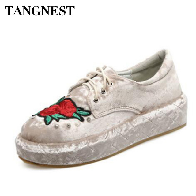Tangnest Spring Embroider Flat Floral Platform Shoes Women Luxury Velvet  Flats Lace Up Leisure Creepers Woman Shoes XWC1231 483d29ae7940