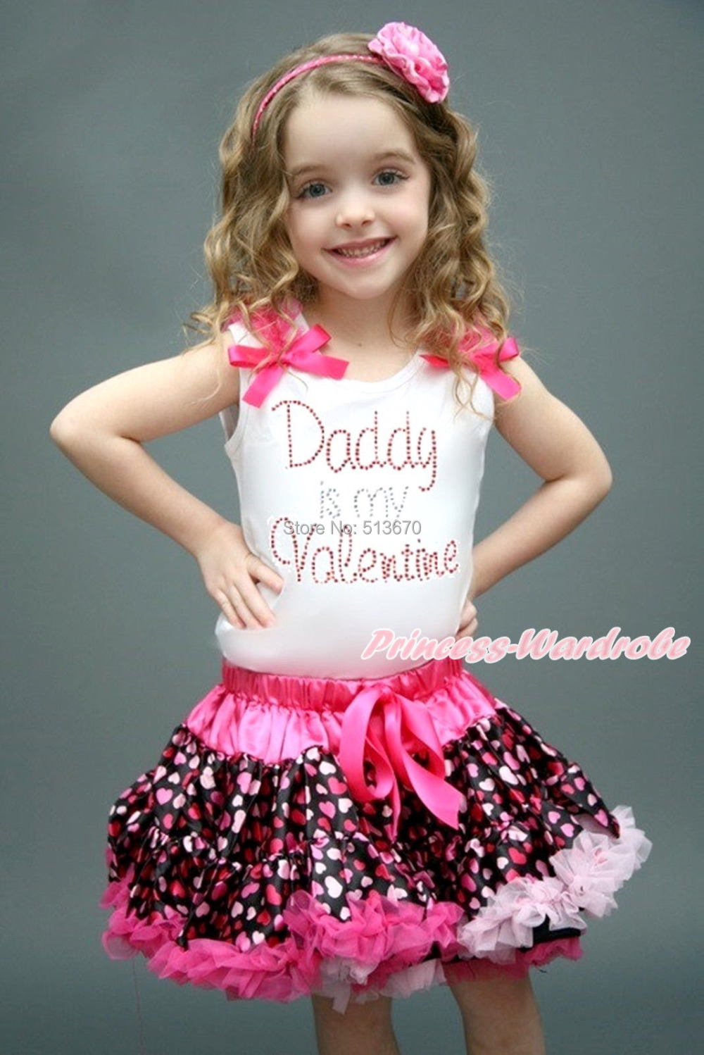 Rhinestone Daddy Is My Valentine White Top Hot Pink Heart Pettiskirt Set 1-8Year MAPSA0164 valentine daddy main squeeze white top pink floral girl skirt outfit set 1 8year
