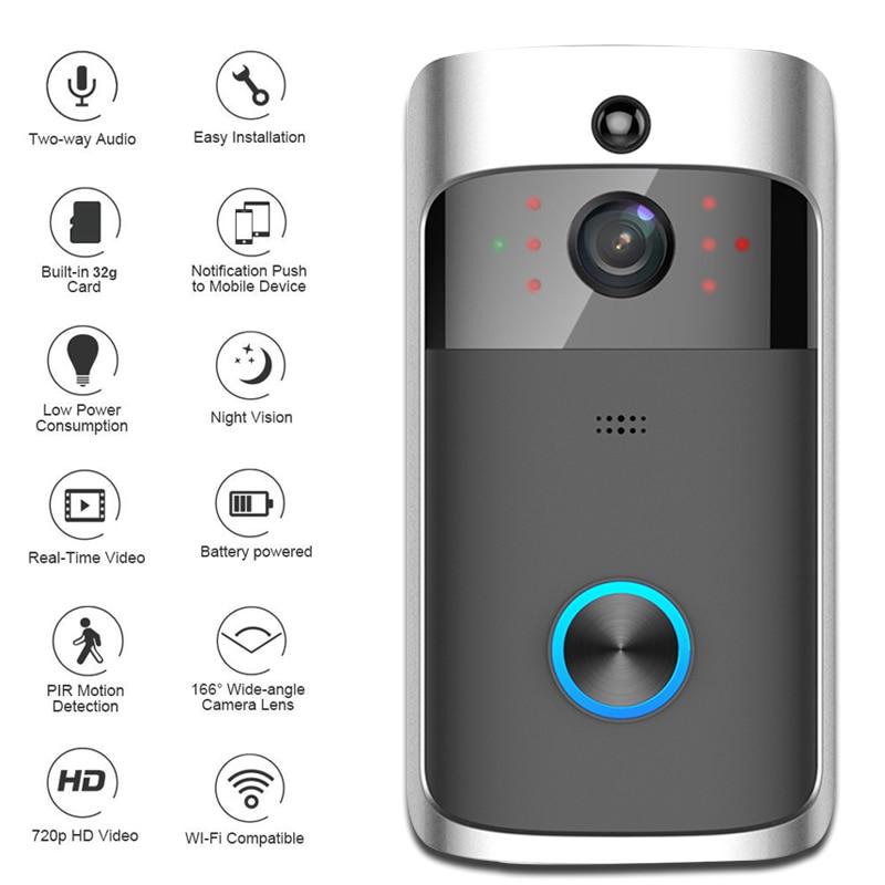WiFi inalámbrico inteligente timbre de seguridad HD 720 p Visual intercomunicación grabación Video puerta teléfono monitoreo remoto inicio visión nocturna