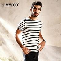 SIMWOOD 2017 New Summer T Shirts Men Breton Top Fashion Slim Fit 100 Pure Cotton Black