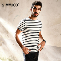 SIMWOOD 2017 New Summer T Shirts Men Breton Top Fashion Slim Fit 100 Pure Cotton Black