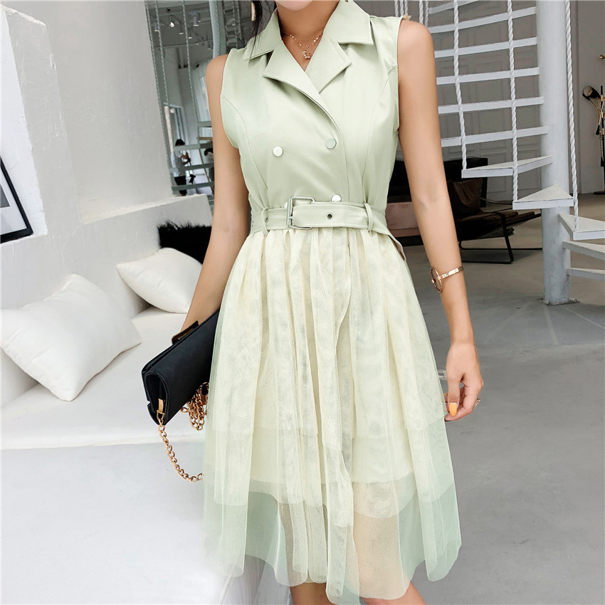 Dresses Women Turn Down Collar Mesh Patchwork Vest Dresses Office Lady Short Sleeve Dress Vestiods To Rank First Among Similar Products
