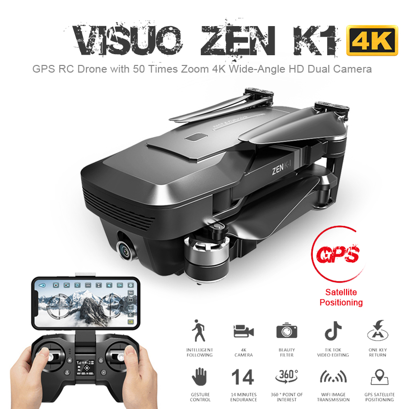 Visuo ZEN K1 GPS RC <font><b>Drone</b></font> with 4K HD Dual Camera Gesture Control 5G Wifi <font><b>FPV</b></font> Brushless Motor Flight 28mins Dron VS F11 B4W SG906 image
