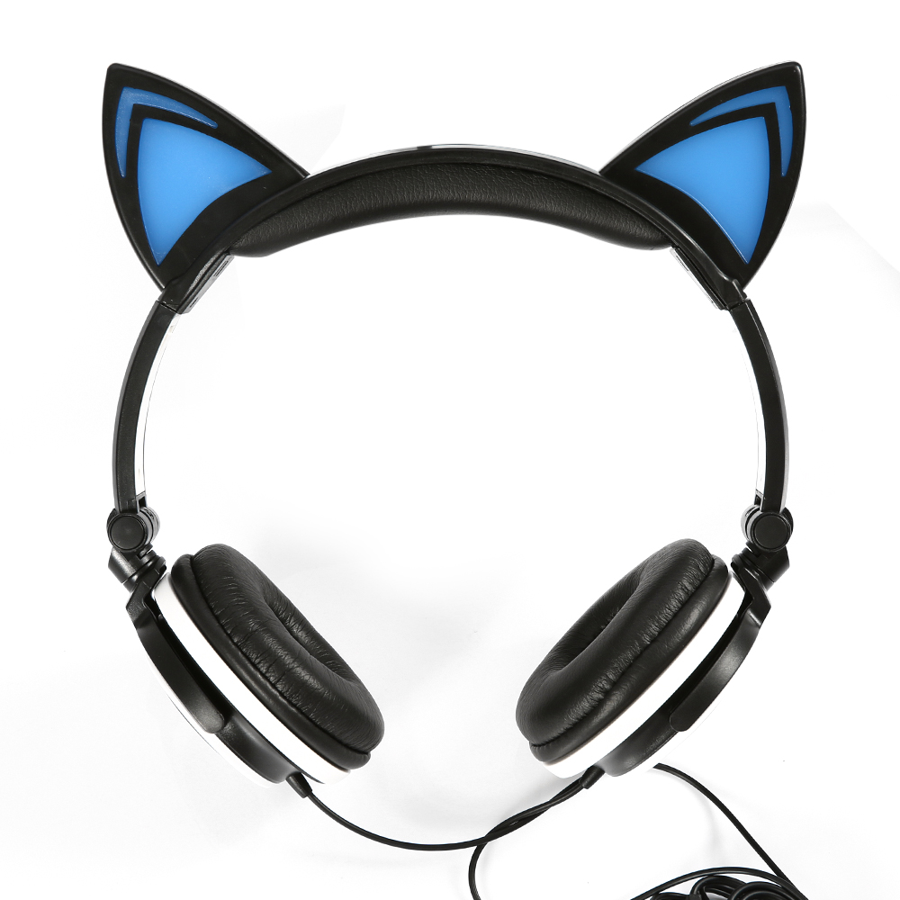 Foldable Flashing Glowing Cat Ear Headphone Gaming Headset Earphone with LED light For Computer Laptop PC Mobile SmartPhones