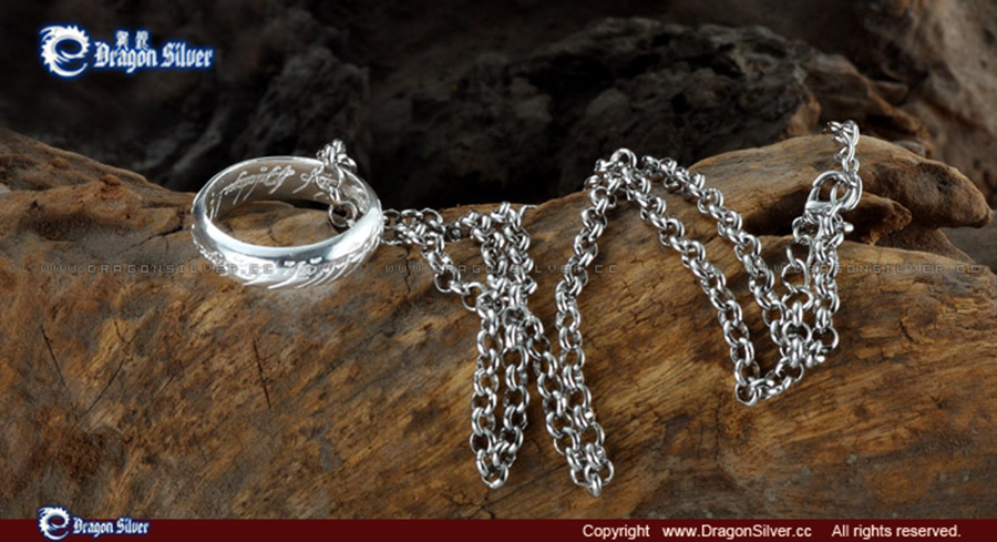 LOTR Ring Widened thickened 925 Silver Ring Wedding Engagement Ring Girl Women Wife Gifts with Chain