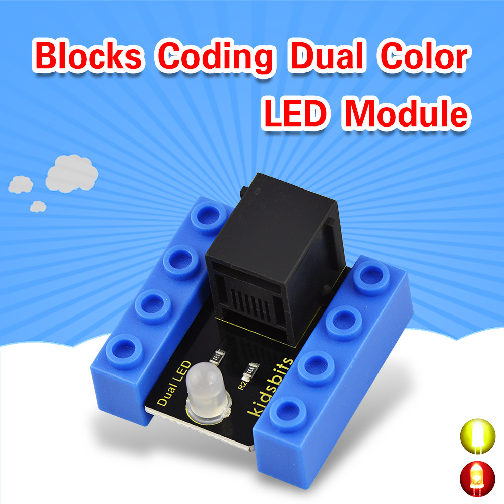 Kidsbits Blocks Coding Dual Color LED Module For Arduino STEAM EDU (Black And Eco Friendly)