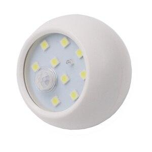Image 5 - 9 LEDs 360 stopni obrót lampa z czujnikiem ruchu czujnik lampka nocna na baterie obsługiwane na ścianę w korytarzu lampka nocna do szaf garażowych przedpokój