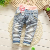 Spring Autumn Roupas Baby Girls Washed Vintage Embroidery Bow Cartoon Lace Denim Jeans Full Length Pants