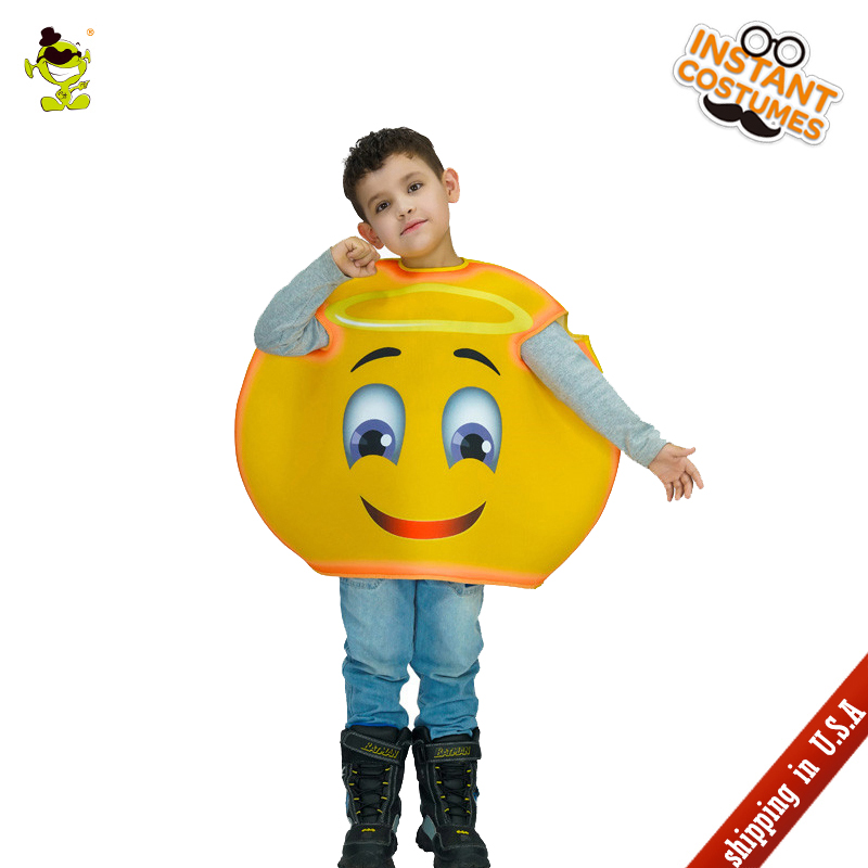 QLQHalloween Party Child Sweet Smiling Angel Emoji Costume Masquerade Cute Emoticon Jumpsuit Role Play Parties Kids Angel Emoji