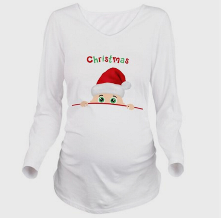 2017 European version of the digital printing plus XXL Cotton maternity dress long sleeves soft Santa Claus pattern figure