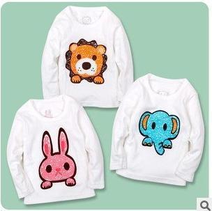 2013 New Arrive baby boy girl long sleeve t shirt Animal design kids cartoon tee shirt fit 2-5yrs 8pcs/lot 4 size free ship S135