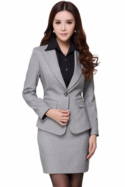 d986863ced4 Plus Size Long Sleeve Blazer Women 2017 Black Coat Jacket Female Business  Suits Set Skirt T