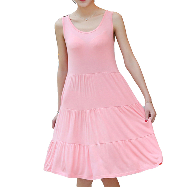 Cute style 2017 Woman fashion Slim Sexy Mini Dress Summer Large size Elasticity Dresses Modal female Sleeveless Pleated Clothing