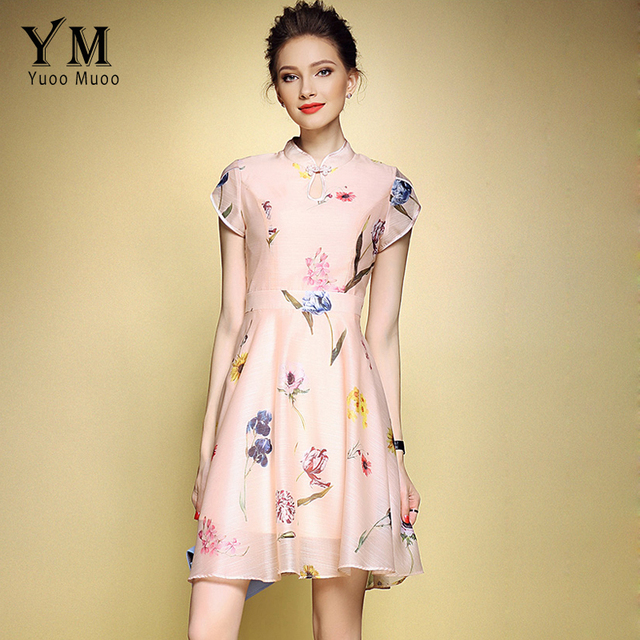 Yuoomuoo Arel Elegant A Line Fl Print Summer Dress Women Vintage Celebrity Party Modern