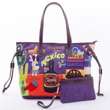 Sj New Women Canvas Shoulder Bags Female Handbags Totes Braccialini Brand Style Handicraft Design Art Cartoon