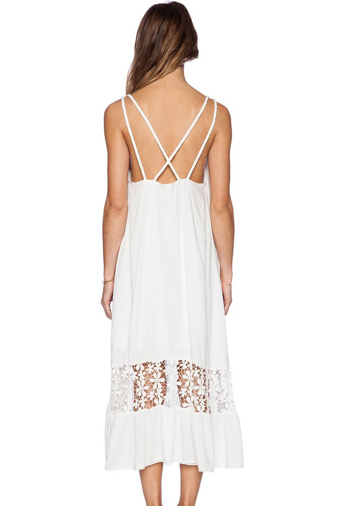Summer Bohemian Style Dresses 17 White Midi Jersey Hollow Out Dress  Fashion Women Seaside Beach Dress Brazilian 3