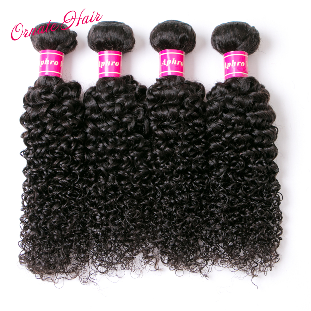 Ornate Kinky Curly Hair 4 Bundles Mongolian Hair Extensions 12-24 Inch Human Hair Weave Natural Color Free Shipping