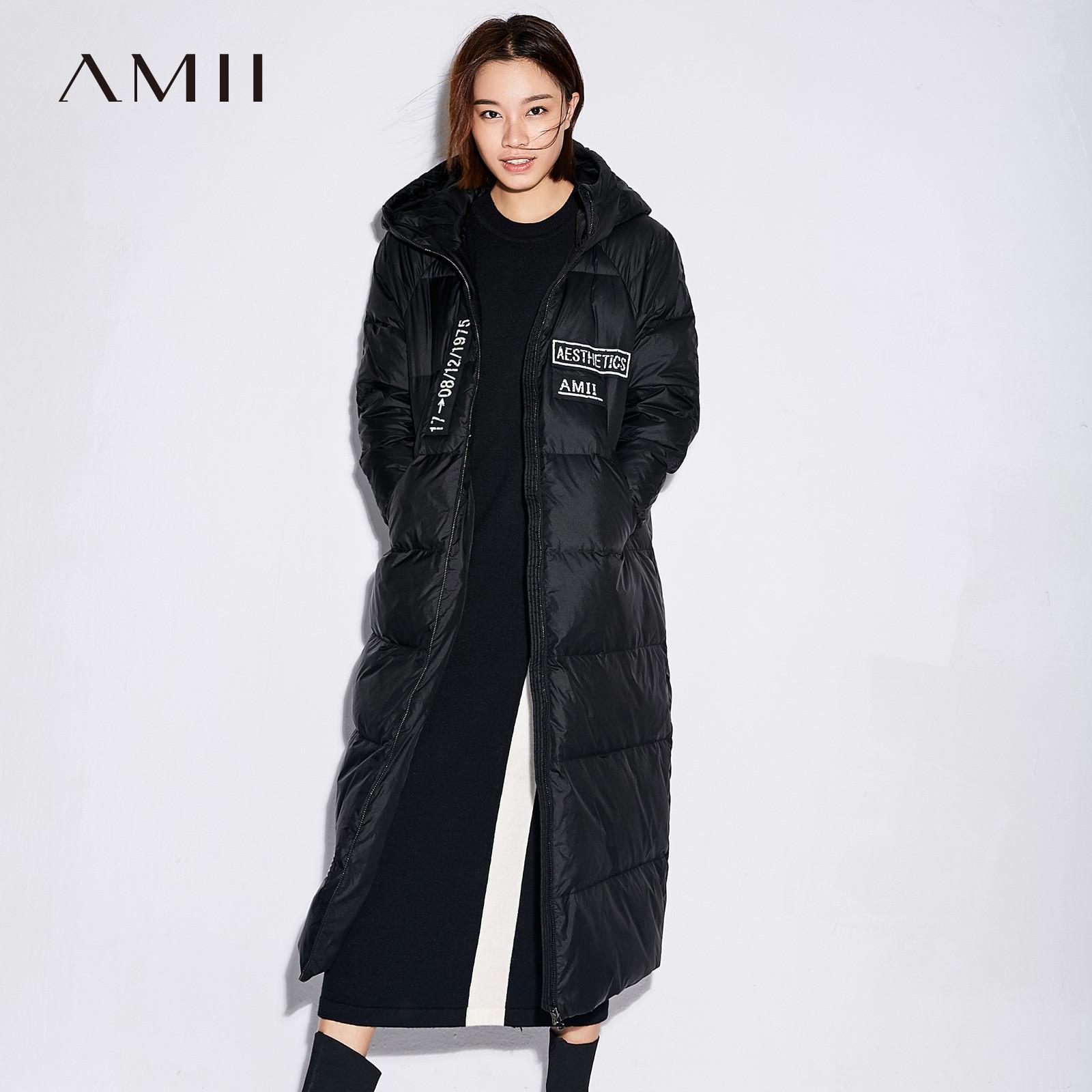 Amii Minimalist Women 2018 Winter Loose 90% White Duck Down Coat Hoodies Female Fashion Light Coats