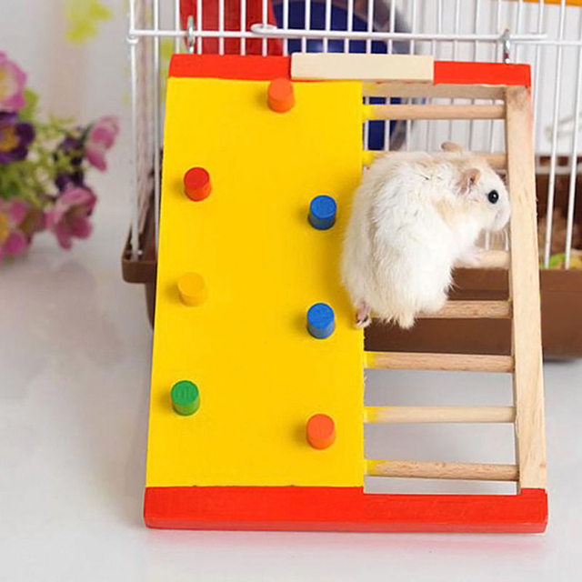Natural Wooden Hamster Climbing Ladder Hamster Accessories Hamster Climbling Toy Small Pet Funning Accessories Pet Supplies