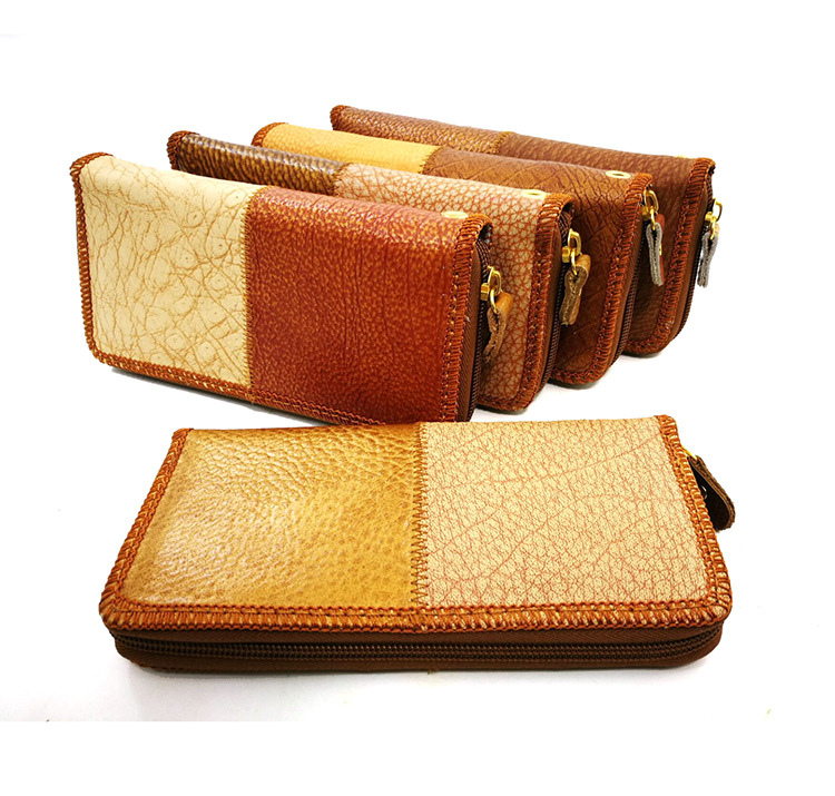High Quality Vintage Genuine Leather Wallets Women Wallet Zipper Stitching Purse Fashion Lady Long Wallet Clutch Bag 959# hot sale women wallets fashion genuine leather women wallet knitting zipper women s wallet long women clutch purse