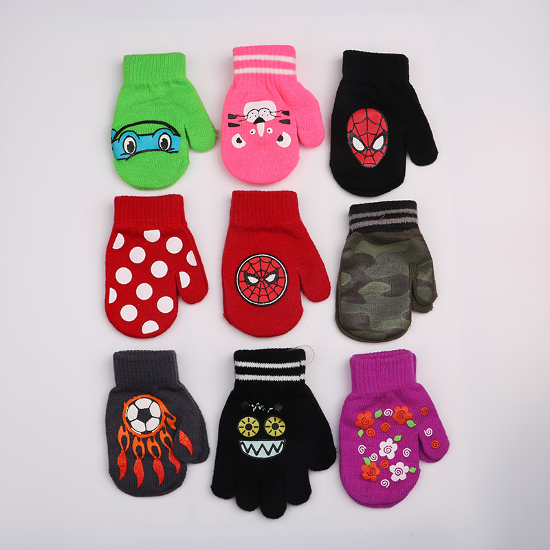 Accessories Hearty Winter Children Thicken Warm Gloves Cute Cartoon Kids Knitted Elastic Ski Gloves Girl Boy Gloves Christmas Gift Boys' Baby Clothing