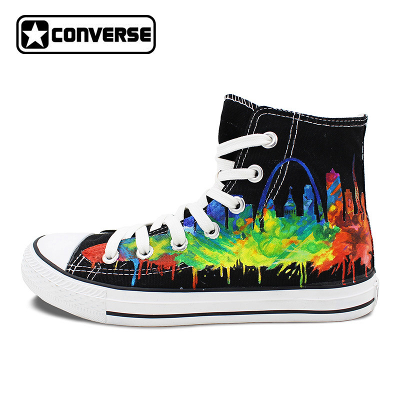 USA Saint Louis Skyline Design Custom Hand Painted Shoes Man Woman Converse Chuck Taylor Black High Top Men Women Sneakers