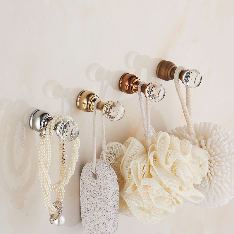 5 Pcs Crystal Cloth Hook Gold Wall Clothes Rack Cloth Hook Wall Hooks Kitchen Robe Hook For Bathroom Accessory Hanger