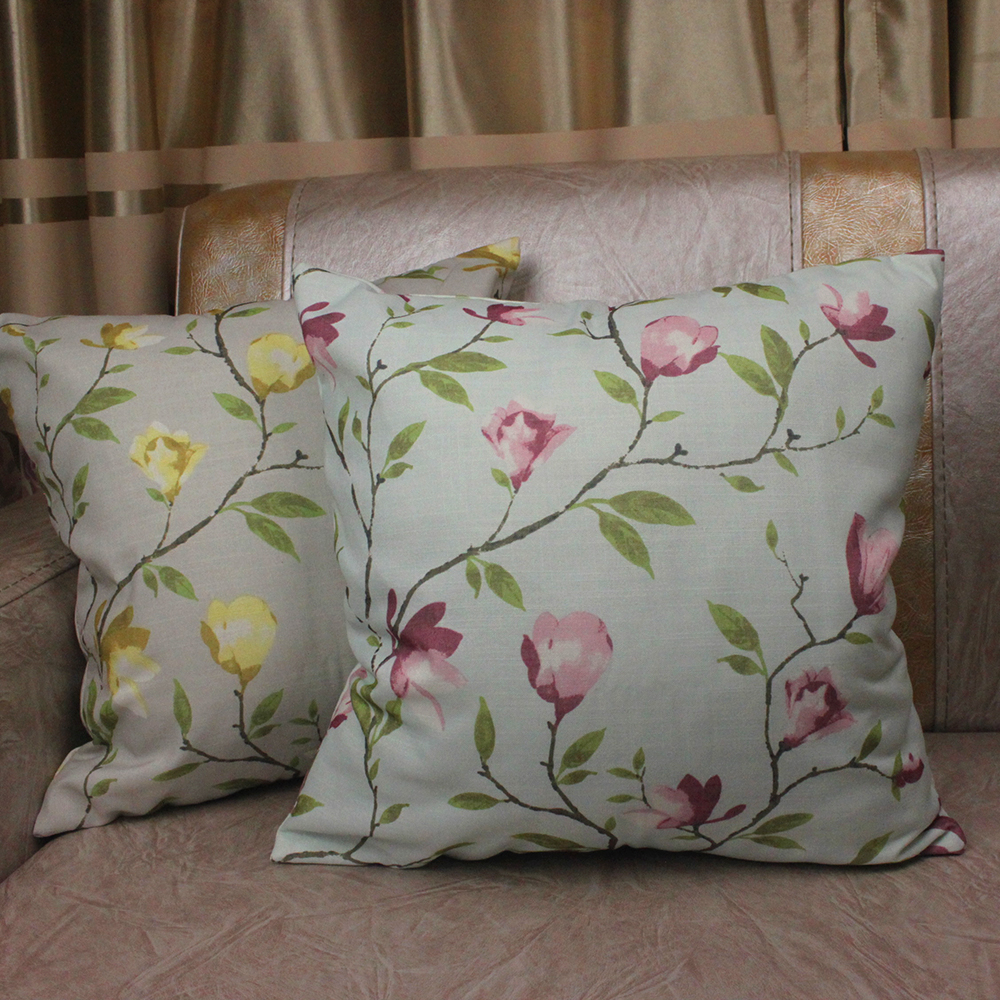 Pastoral Garden Cushion Covers Magnolia Flowers Printed Decorative Sofa Throw Pillowcase Square Car Chair Pillow Cover
