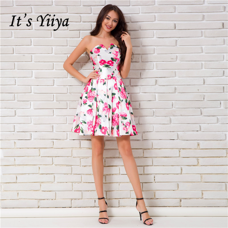 Its Yiiya Cute Sleeveless Strapless Floral Print Cocktail Dresses