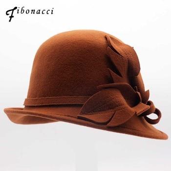 e730139290fb Seioum negro lana de ala ancha Bowler Trilby Fedora sombrero para mujeres  planas señora fieltro ...