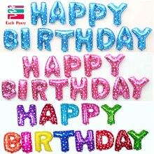 Фольгированные баллоны днем разноцветные буквы серебро шары поставки письмо партия рождения