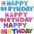 Multicolor Cartas FELIZ CUMPLEAÑOS Globos de papel de Aluminio de Plata de Oro Los Niños Feliz Cumpleaños Carta Globos Decoraciones del partido Suministros