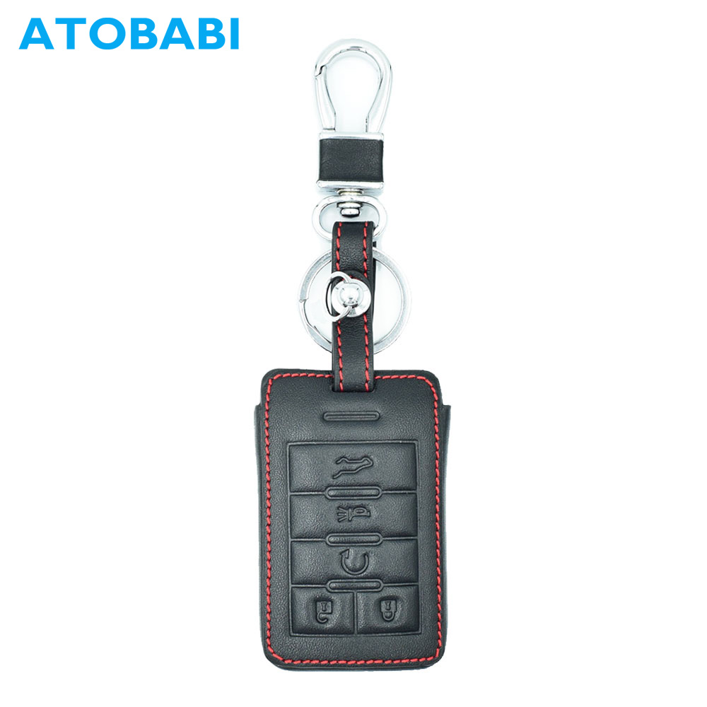 ATOBABI 5 Buttons Car Smart Key FOB Leather Case Cover Protector Holder Jacket for Cadillac ATS CTS DTS STS XTS ATS SRX Escalade