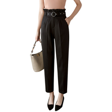 Black korean pants woman ruffled high waist pencil pants sas