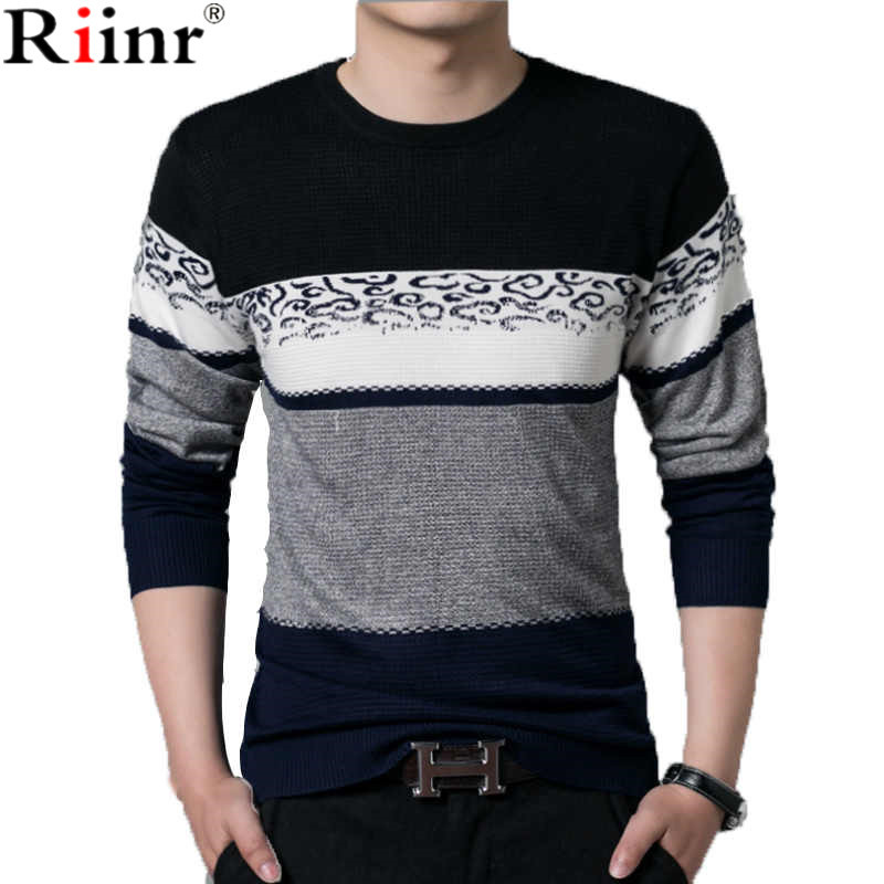 Riinr Sweater Men 2018 Autumn Winter New Casual Patchwork V-Neck Pull Homme Mens Knitted Sweaters Thin Pullover Shirt Men