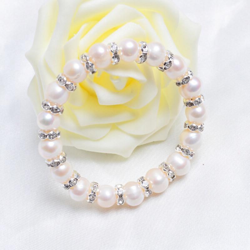 ASHIQI 9-10mm Real Freshwater Pearl Armband för kvinnor Charm - Fina smycken - Foto 3